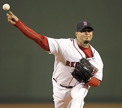 Josh Beckett retires the first seven Yankees he faces, and the final 14, and doesn't give up much in between.  (AP)