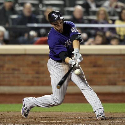 Troy Tulowitzki records three RBI, including one off this single in the third inning against the Mets.  (Getty Images)