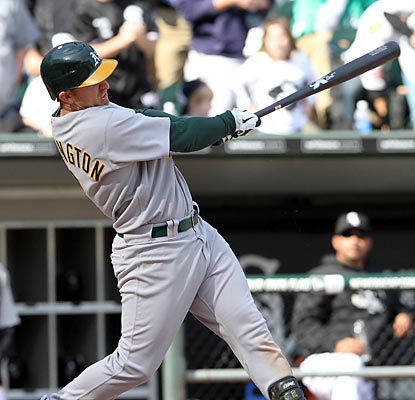 Athletics shortstop Cliff Pennington steps up in a big way by tying the game in the ninth with a two-out, two-run single. (AP)