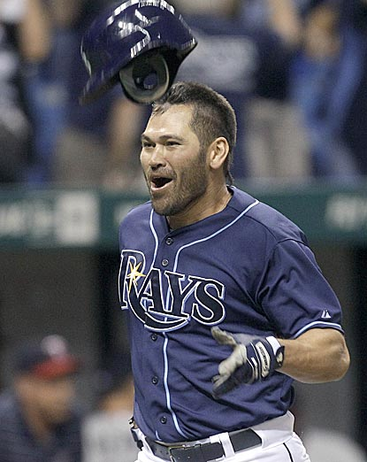 Johnny Damon gets ready to celebrate after becoming the first player in history to hit a walk-off home run for five teams.  (AP)