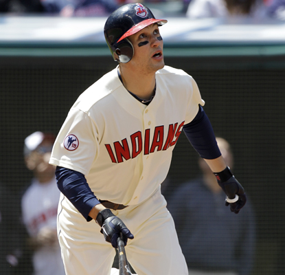 Grady Sizemore takes off as he hits a home run in his first game back since last May when he had knee surgery. (AP)