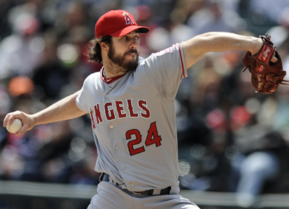 Dan Haren becomes baseball's second four-game winner, along with teammate Jered Weaver, as he strikes out six. (AP)