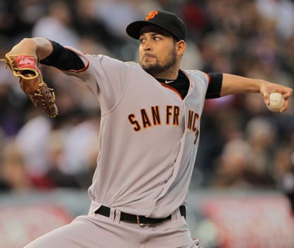 Jonathan Sanchez allows only two hits in 6 1/3 innings against the Rockies.  (Getty Images)