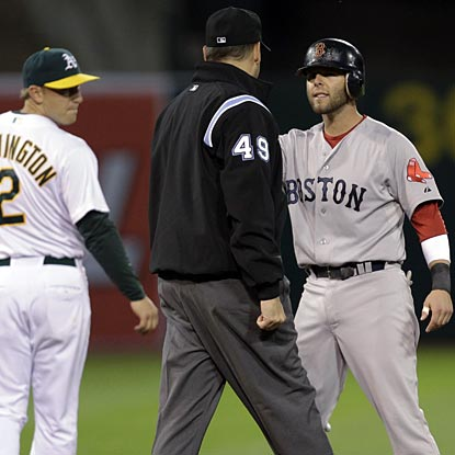 Dustin Pedroia and the Red Sox are off to the worst road start (0-7) in franchise history.  (AP)