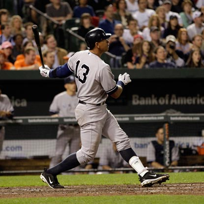 Alex Rodriguez watches his 22nd career slam -- putting him second on the all-time list behind Lou Gehrig -- fly over the wall.  (Getty Images)