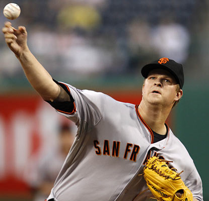 Matt Cain does his job by allowing just two runs on four hits while whiffing six batters in six innings. (AP)
