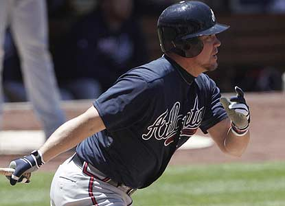 Chipper Jones drives in three to pass Mickey Mantle for second among switch-hitters with 1,512 RBI. (AP)
