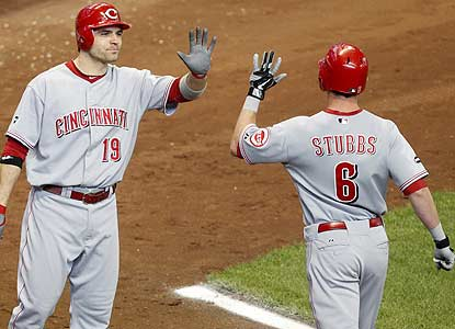 Drew Stubbs -- celebrating with Joey Votto -- hits the winner after the Reds blow leads of 4-0 and 6-4. (AP)