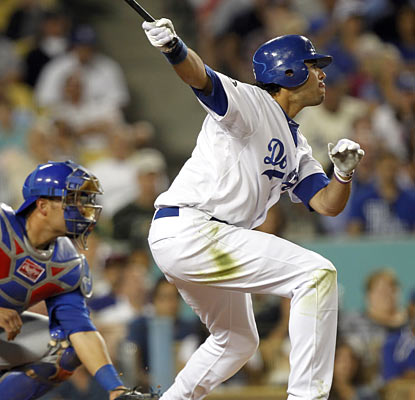 It takes Andre Ethier three at-bats before extending his hit streak with an infield single in the fifth inning.  (AP)
