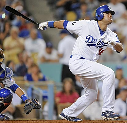 The Dodgers' Andre Ethier watches his single during the fourth inning, extending his hit streak to 29 games. (AP)