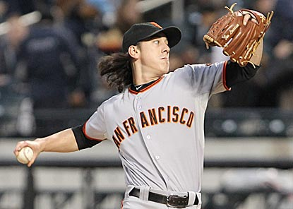 After escaping a tricky first inning, Tim Lincecum sails through the rest of his outing and bests a 95-year-old Giants record.  (US Presswire)