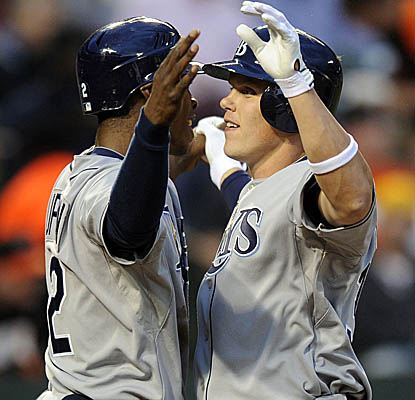 Brandon Guyer (right) becomes the only player in Rays history to homer in his first plate appearance in his MLB debut. (AP)