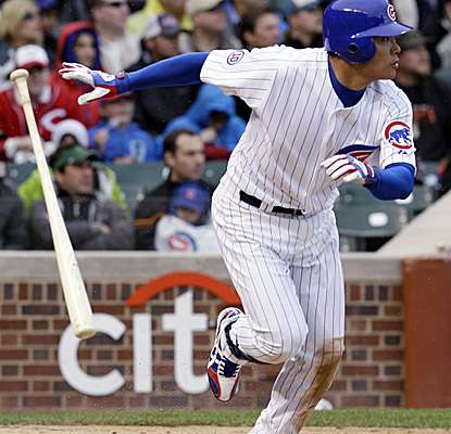 Cubs RF Kosuke Fukudome doubles in the fifth inning vs. the Reds on Saturday. (AP)