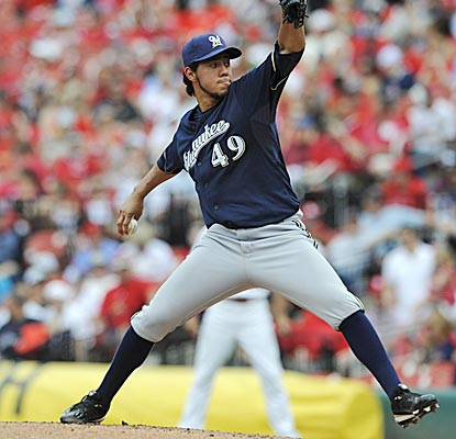 The Brewers' Yovani Gallardo takes a no-hitter into the eighth inning in St. Louis before allowing a single in a 4-0 win. (AP)