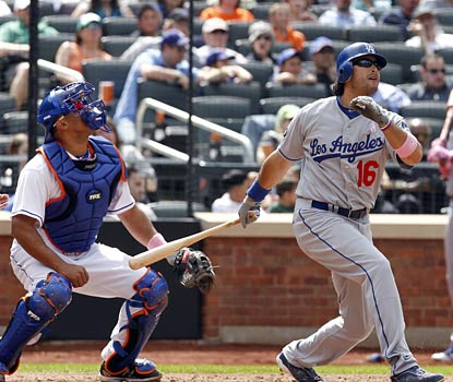 A day after having his 30-game hit streak snapped, Andre Ethier gets back in the hit column with a two-run homer.  (US Presswire)
