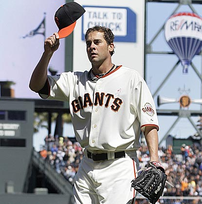 Ryan Vogelsong, whom the Giants drafted in 1998 out of Kutztown, responds to the fans' ovation after being removed.  (AP)