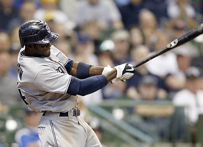 Cameron Maybin drives in three with this double in the eighth -- part of a nine-hit, eight-run inning for the Padres. (AP)