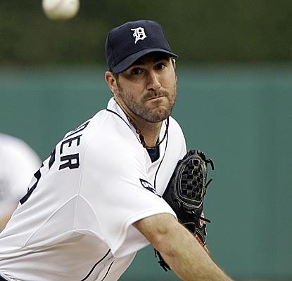 Justin Verlander allows one run on two hits and three walks over eight innings vs. the Royals. (AP)