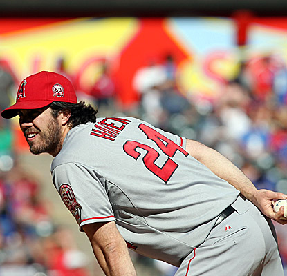 Angels starter Dan Haren winds up without a decision after allowing only two runs in nearly eight innings. (US Presswire)