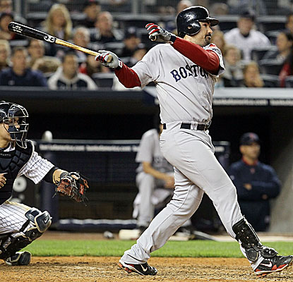 Red Sox slugger Adrian Gonzalez rips a three-run home run in the seventh as Boston cruises. (Getty Images)
