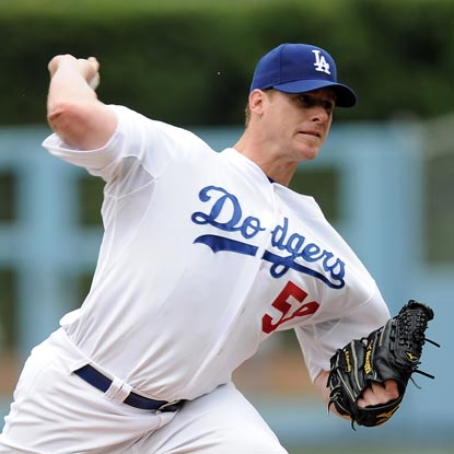 Chad Billingsley allows only one hit through eight innings but a botched pick-off throw costs him the win.  (Getty Images)