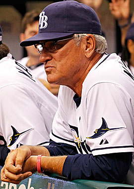 """Complimenting skipper Joe Maddon, Rays GM Andrew Friedman calls him """"the most immature 57-year-old I've ever met."""" (Getty Images)"""