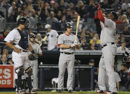 David Ortiz celebrates his go-ahead shot in the fifth inning against the Yankees. (Getty Images)