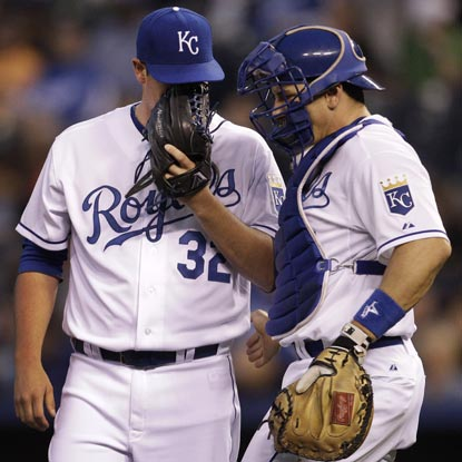 All the strategizing in the world can't help Vin Mazzaro out of the worst pitching performance in Royals history.  (AP)