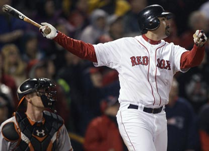 Adrian Gonzalez watches as his game-winning double lifts the Red Sox above .500 for the first time this season. (AP)