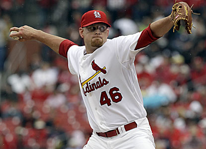 Kyle McClellan, a first-year starter who replaces Adam Wainwright in the rotation, pitches eight innings of five-hit ball. (AP)