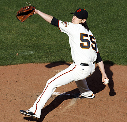 Tim Lincecum pitches a complete game to shut out the A's, whiffing six and walking none. (US Presswire)