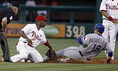 Philadelphia's Jimmy Rollins applies the tag to Texas' Mitch Moreland, who is out trying to steal second in the third inning.  (AP)