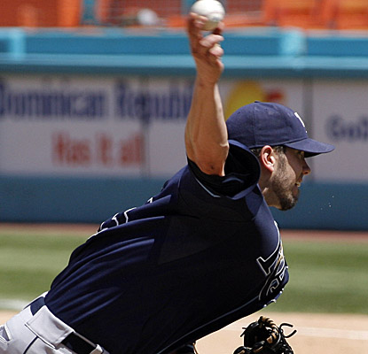 For the eighth time this season, James Shields pitches at least seven innings while allowing two or fewer runs.  (AP)