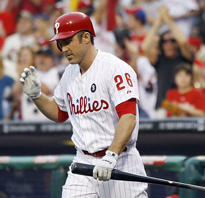 A record crowd at Citizens Bank Park applauds Chase Utley's return. The 2B finishes as the only starter without a hit.  (AP)