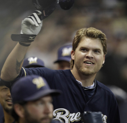 Corey Hart celebrates his first three homers of the season against Washington. (AP)