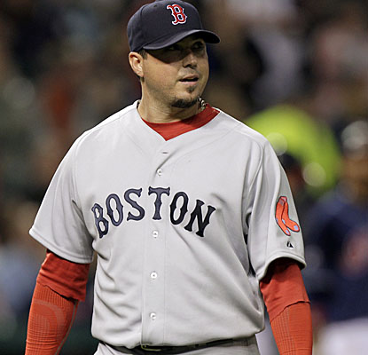 Boston ace Josh Beckett gets ready to leave against the Indians after allowing just one run and five hits. (AP)