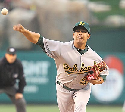 In his first appearance for Oakland -- and his first MLB start -- Guillermo Moscoso limits the Angels to three hits.  (Getty Images)