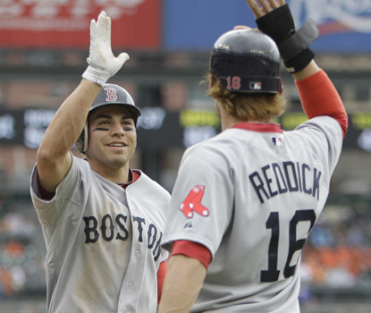 Jacoby Ellsbury's three-run homer in the second inning is all the offense Boston needs ... but the Sox don't stop there.  (AP)