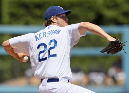 Clayton Kershaw allows only four of the 30 batters he faces to get on base (one on an error) and none of them reaches third.  (Getty Images)