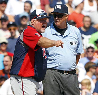 Twins skipper Ron Gardenhire argues a fan interference call in the eighth that leads to the Tigers' winning margin of victory. (US Presswire)
