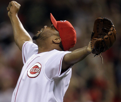 Reds' reliever Francisco Cordero celebrates the win, and his 300th career save. (AP)