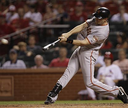 Nate Schierholtz smacks an RBI single in the 11th inning to put the Giants ahead for good in St. Louis.  (AP)