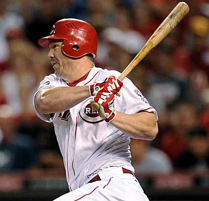 Scott Rolen accounts for all of Cincinnati's runs with this two-run hit in the fifth inning.  (Getty Images)