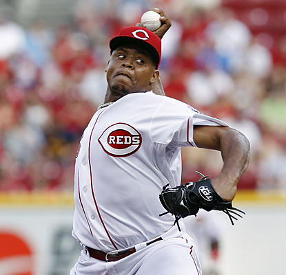 Edinson Volquez gives up one run through seven innings and earns a W in his return from the minors.  (Getty Images)