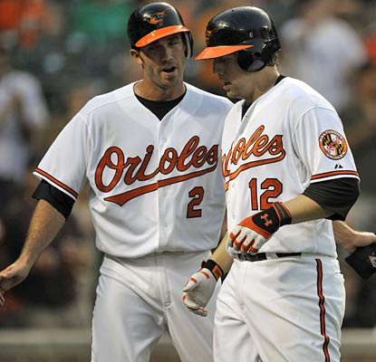 J.J. Hardy gives Mark Reynolds a congratulatory pat after Reynolds' fifth-inning home run.  (US Presswire)