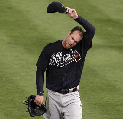 Derek Lowe takes a no-hitter into the seventh inning against Florida, but settles for a no-decision. (AP)