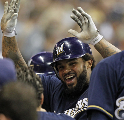With two homers against the Mets, Prince Fielder passes Gorman Thomas on Milwaukee's all-time HR list with 209. (AP)