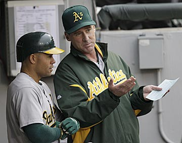 Bob Melvin (right) figures to be a better communicator than Bob Geren, which should start him off on the right foot. (AP)