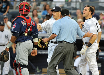 The game nearly takes an ugly turn after Fausto Carmona hits batter Mark Teixeira. Benches clear but no one is ejected.  (Getty Images)