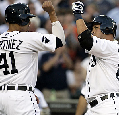 Victor Martinez and Jhonny Peralta chip in offensively for the Tigers, who crush Mariners rookie Michael Pineda.  (AP)